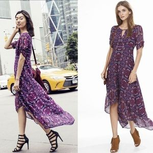 Express purple paisley high low maxi dress XS